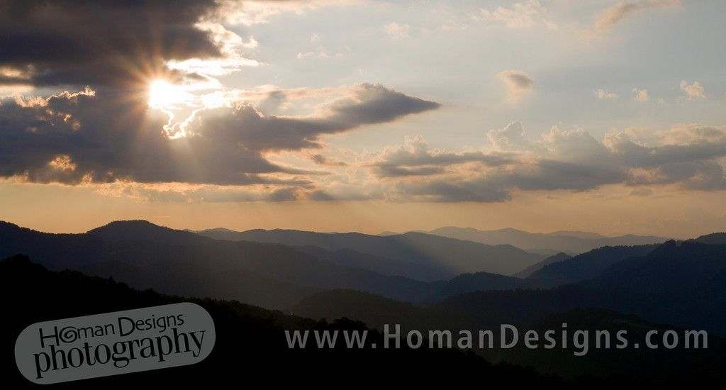 Sunset from Round Mountain in the Nantahala National Forest.    Homan Designs Photography  Charlotte wedding photographer  Located in Huntersville, N.C.  www.homandesigns.com