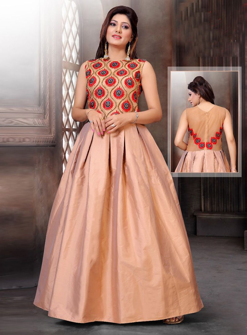 Peach Silk Readymade Gown 117200 | Redymade Gown | Pinterest | Peach ...