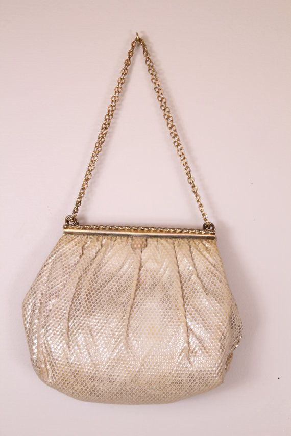Vintage - 60s - HL Harry Lavine - Ivory & Metallic Gold Lame - Polka Dot - Clasp - Gold Chain Strap - Cocktail - Handbag - Purse