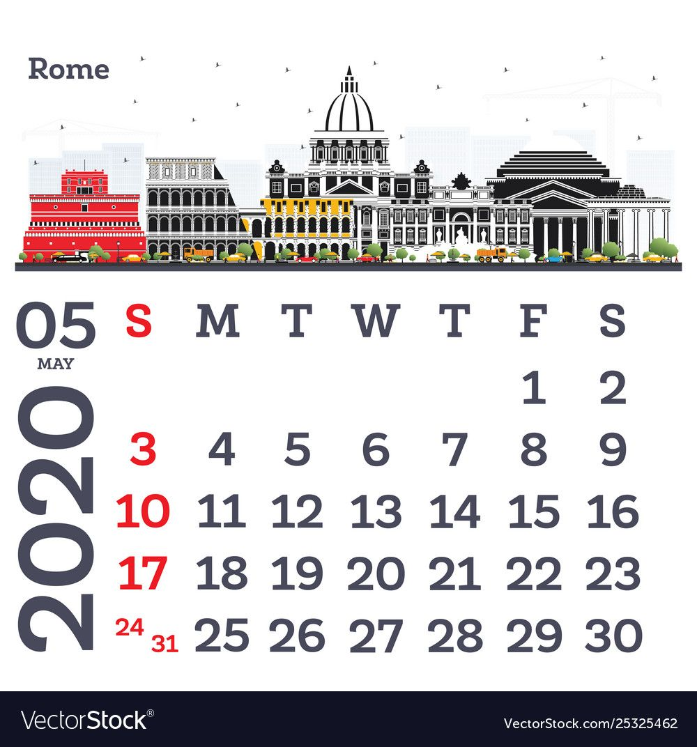 May 2020 Calendar Template With Rome City Skyline Vector Image Sponsored Template Rom 2020 Calendar Template Calendar Template Calendar Design