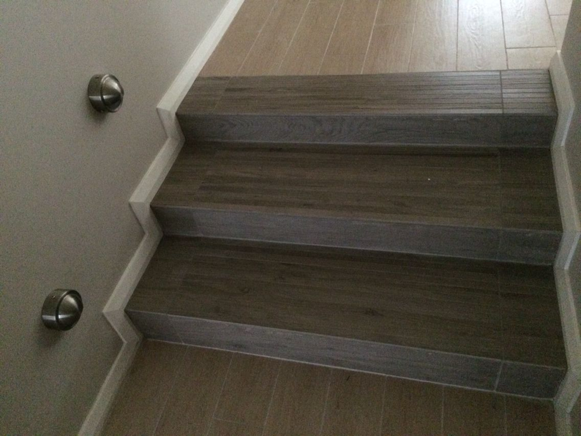 Stair Solution Wood Look Tiles Two Different Types To Break Up | Wood Look Tile For Stairs | Weathered Wood Distressed | Ceramic | Bedroom | Rocell Living Room | Porcelain