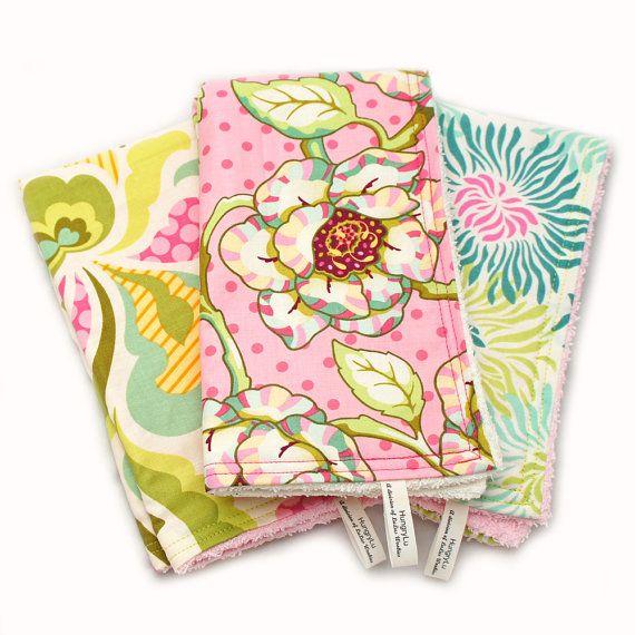 Wash Cloths As Burp Cloths: Cotton Terry Cloth Baby Burp Cloths Fresh Cut Mod Floral