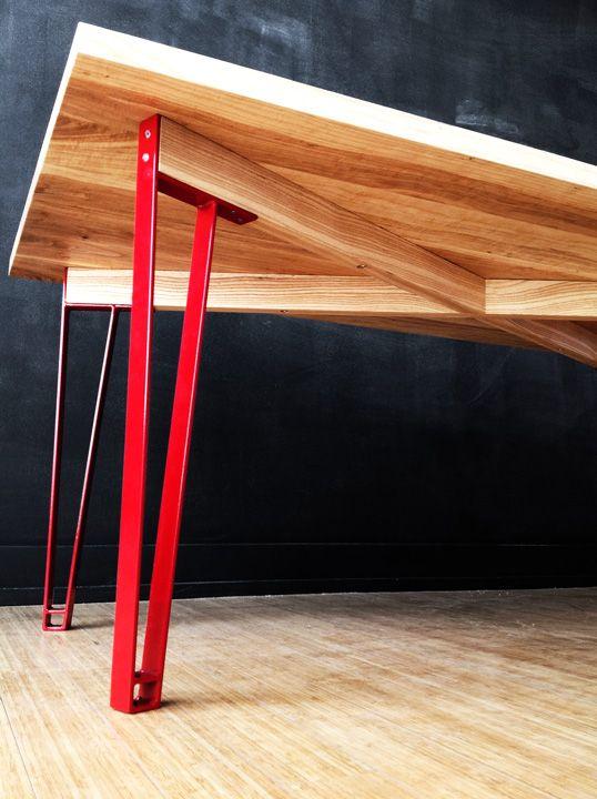 Harvest Table, 3u0027 X 7u0027, Steel Legs And Reclaimed Urban Ash Top