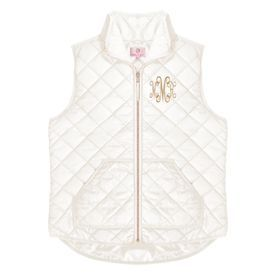 a5f77608a63d white puffy quilted vest with gold monogram and front pockets ...