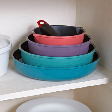 Cast aluminium, non-stick, colourful, nesting pans – with plastic lids for leftovers. WANT. £89.99