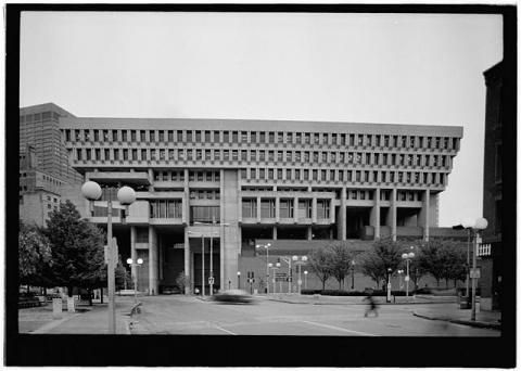 Boston City Hall Rear Facing Faneuil Hall Photo Credit Historic American Building Survey And Th Boston City Hall Brutalist Buildings Brutalist Architecture