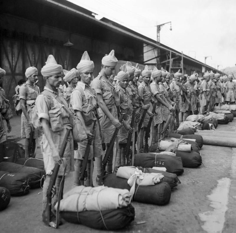 Newly Arrived Indian Troops Parade On The Quayside At Singapore