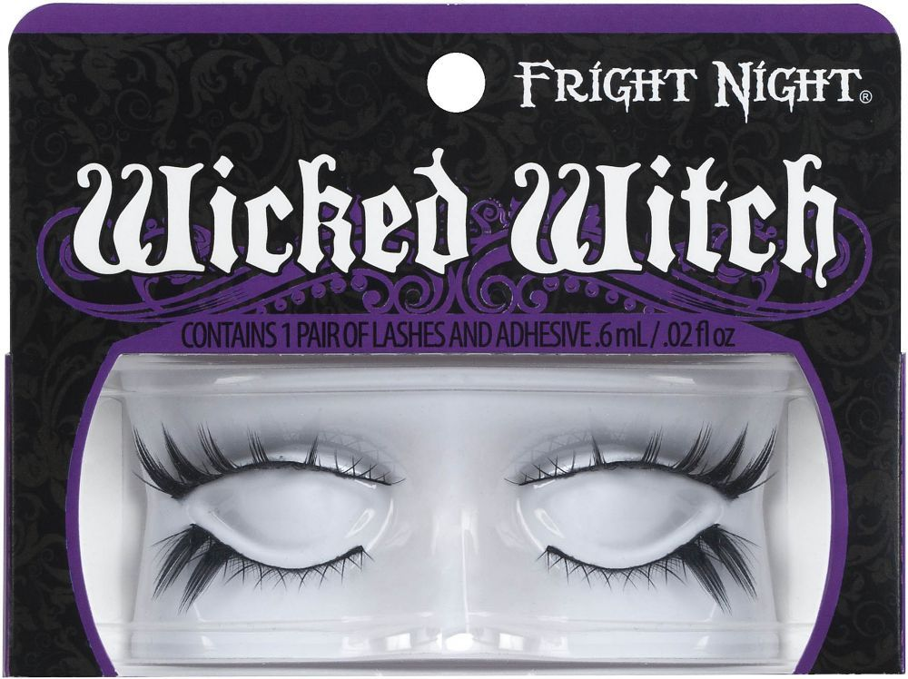 Fright Night Wicked Witch Lash Duo is an edgy duo of upper and lower lashes has a two-in-one appeal; a crisscross effect throughout with spiky accents. Includes lash adhesive for all day hold..