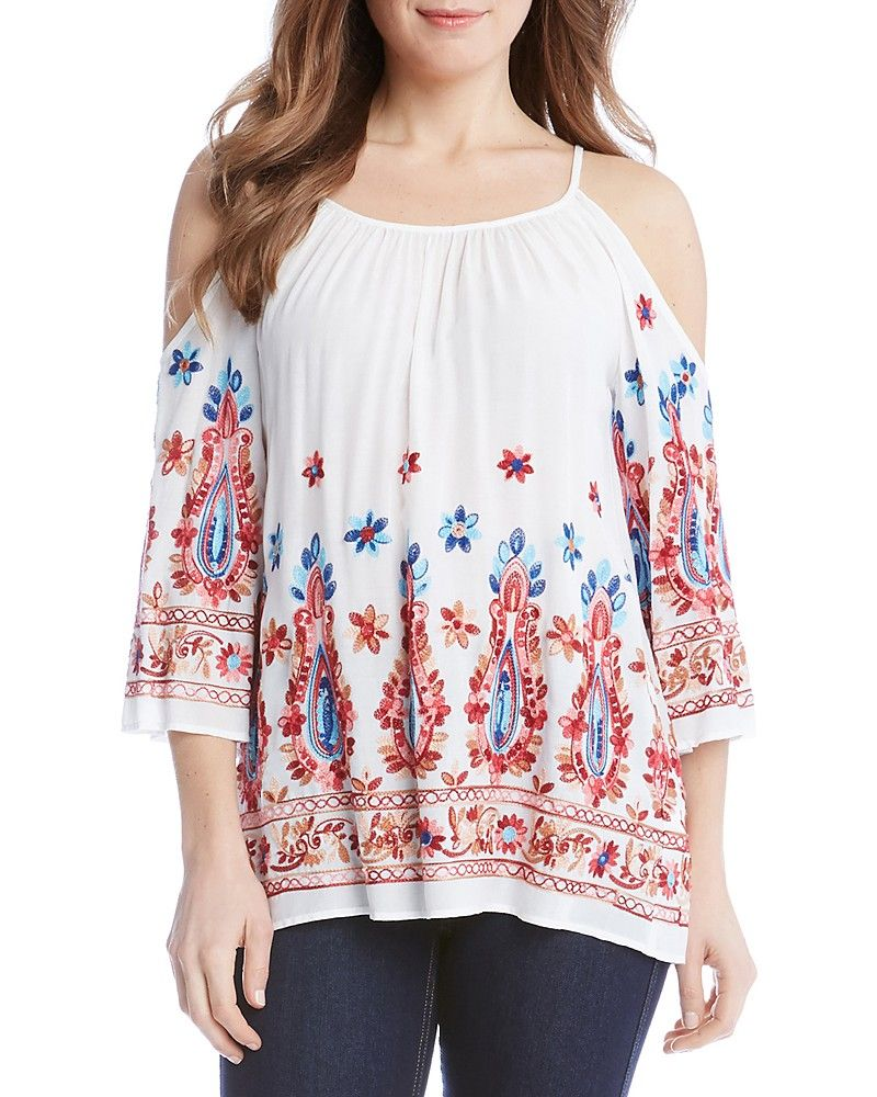 ce32d688d66c4 Embroidered Cold Shoulder Top- Floral and paisley embroidery adorn this  summer-ready top from Karen Kane