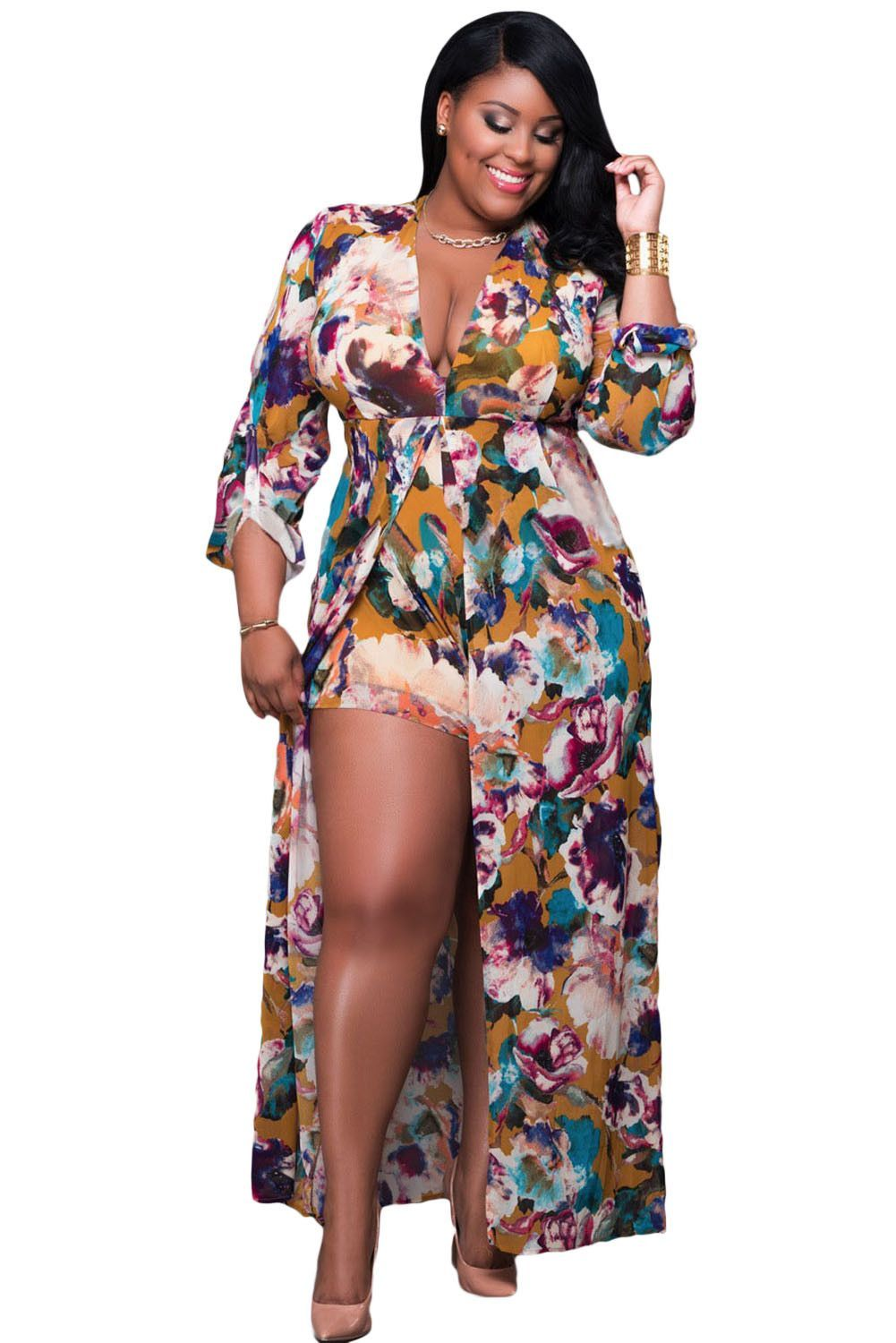 Chicloth plus size sleeved floral romper maxi dress my gorgeous