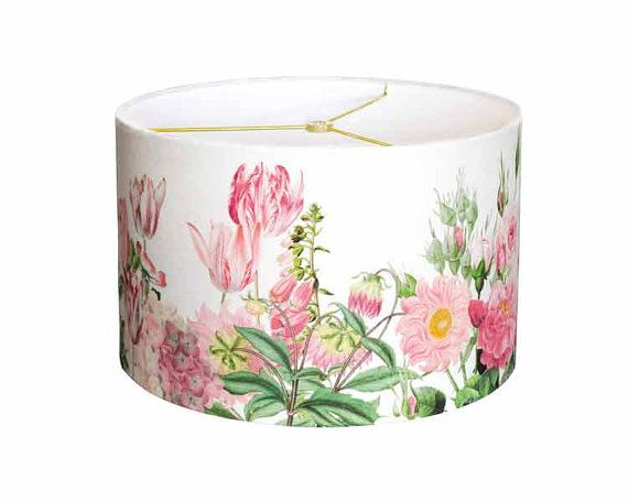 Large linen pink garden party drum lamp shade shabby chic pink large linen pink garden party drum lamp shade shabby chic pink flower lampshade 13 14 15 inch lamp shade custom made to order mightylinksfo