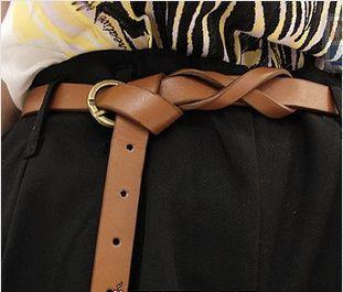 M139 personalidade da forma de chegada de cobre do vintage breve decoração cinto fino feminino couro PD003