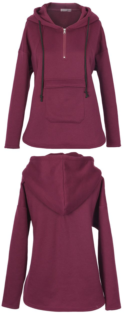 10% Off for pre-order! This burgundy hoodie is detailed with  front pocket&zip up! Keep chic&warm at Cupshe.com