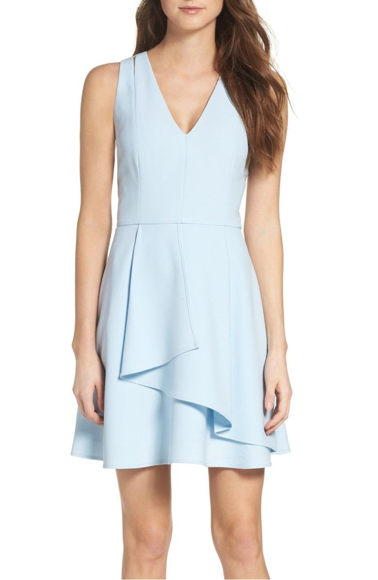 Asymmetrical Crepe Fit Amp Flare Dress Main Color Cool
