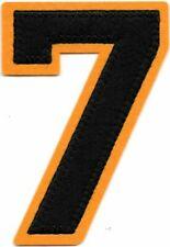 3 1 2 X 2 1 2 Black Orange Block Letterman S Number 7 Felt Patch Ebay Felt Patch Orange Black Patches