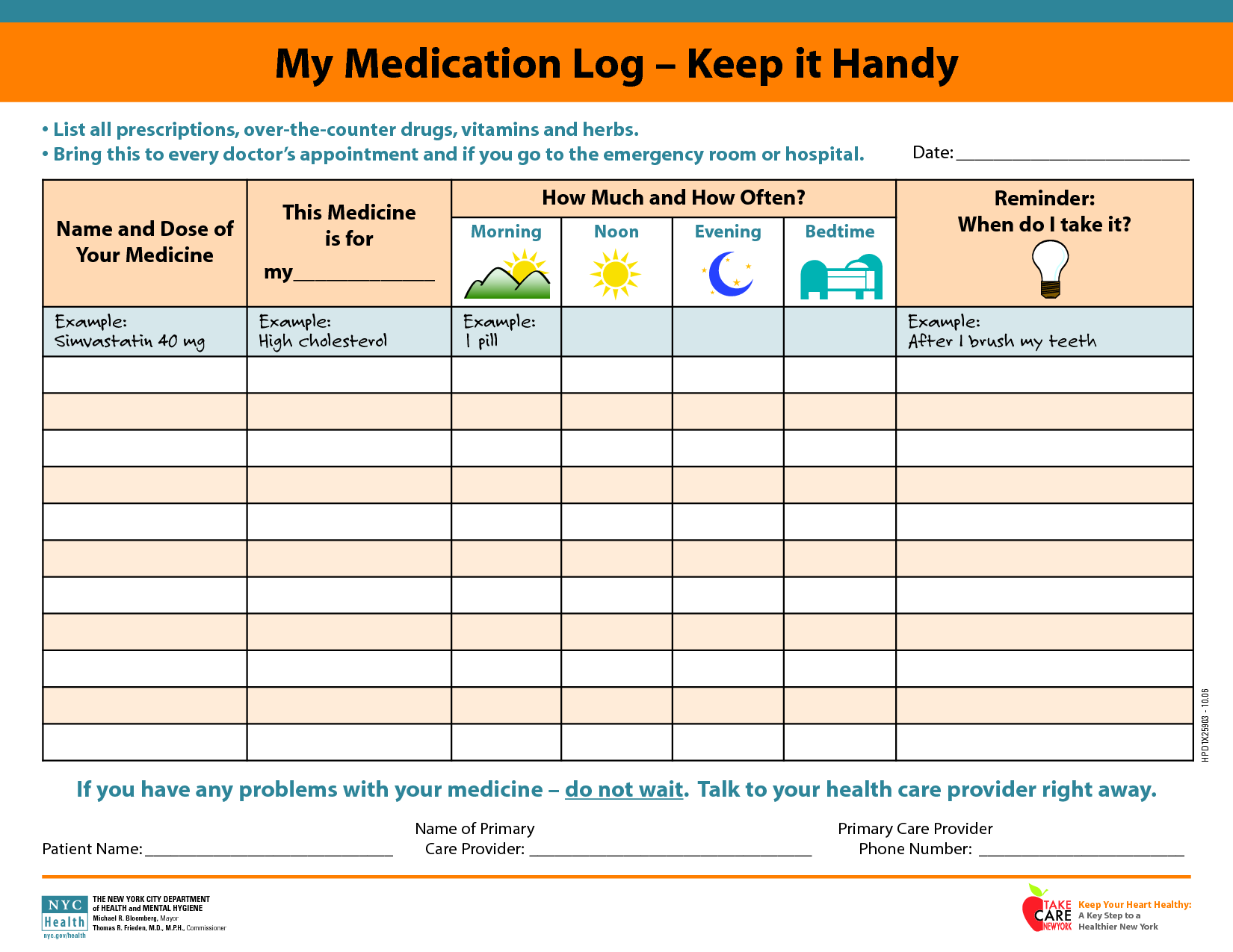 medicine picture schedule | My Medication Log - Keep it Handy ...
