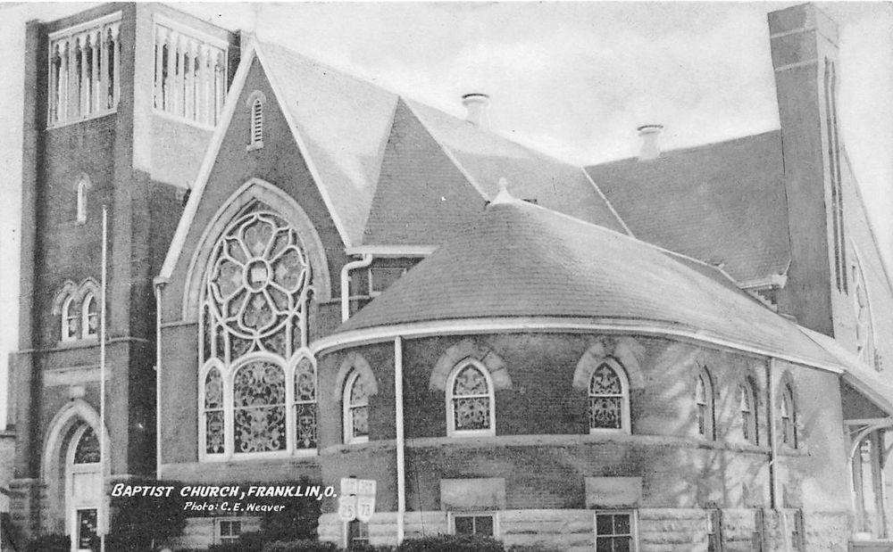 Ohio Postcard C1960s Franklin Baptist Church Building Church Building Baptist Church Church