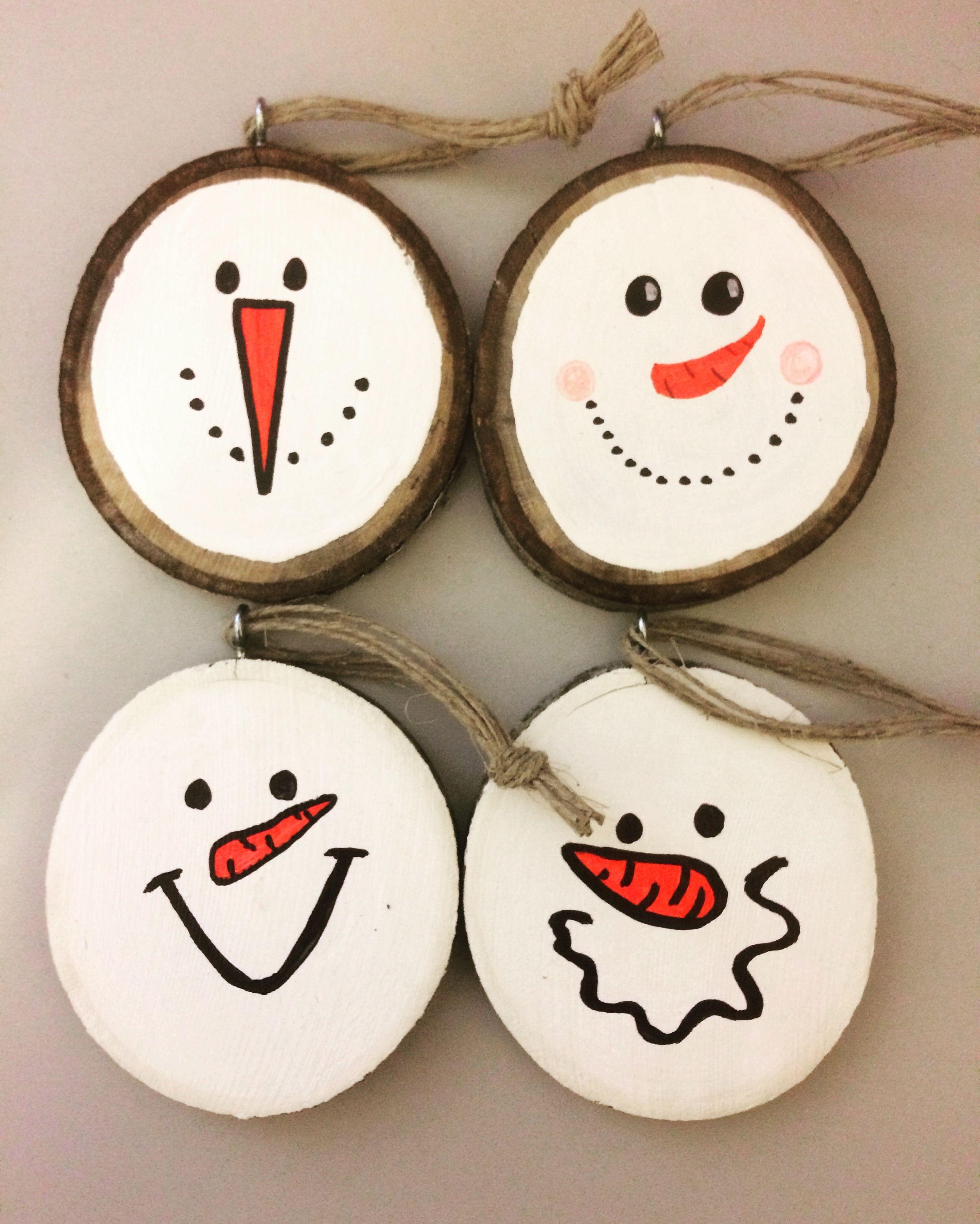 Snowman snowmen wood slices ornaments Christmas painting