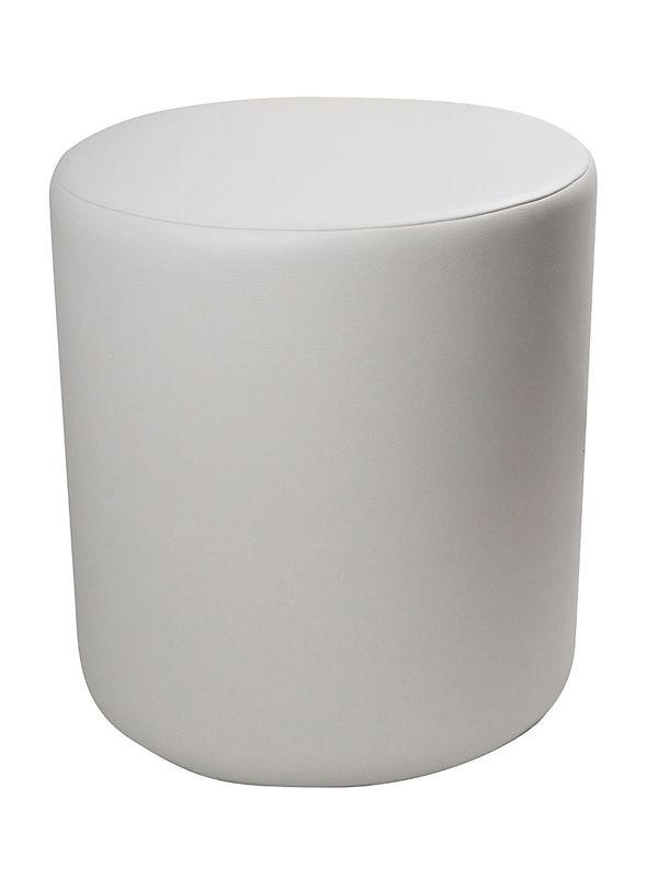 POUF-bianco Seduta realizzata in morbida ecopelle. Imbottitura in poliuretano espanso indeformabile ad altissima densità.     Può essere rivestito con fodere di VARI COLORI o con fodera FLOWERS  Dimensione: Diametro cm 48 x H 50 cm