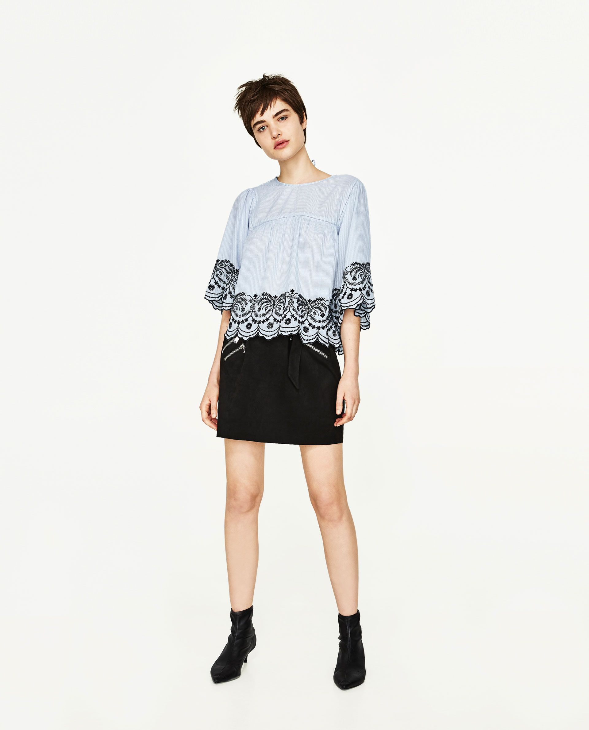 5ff2ed2b0d2 ZARA BLUE BLOUSE WITH CONTRASTING EMBROIDERY AND KIMONO SLEEVES ...