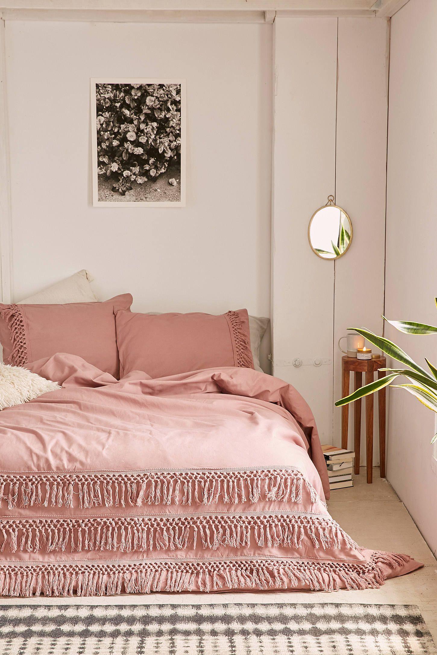 Magical Thinking Net Tassel Duvet Cover Pink Bedroom Decor Pink