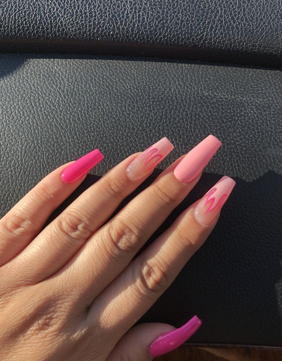 Flame Coffin Nails In 2020 Best Acrylic Nails Fire Nails Long Acrylic Nails