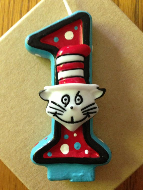 Handpainted Cat in the Hat birthday candle  any by SweetPeaCandles, $8.00