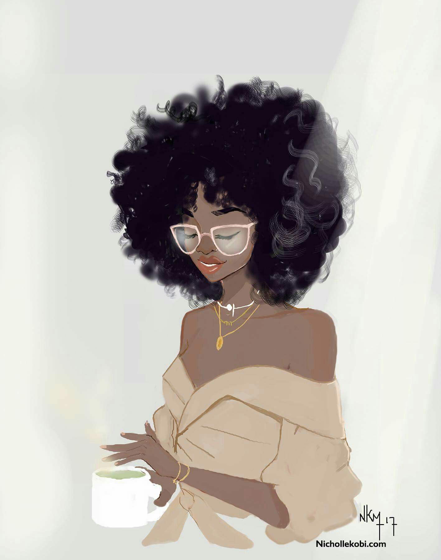 With art afro girl black Afros Turned