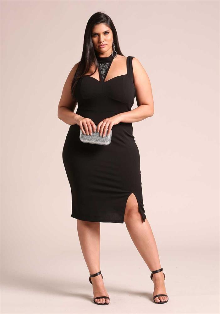 Plus Size Clothing Plus Size Rhinestone Cut Out Bodycon Dress