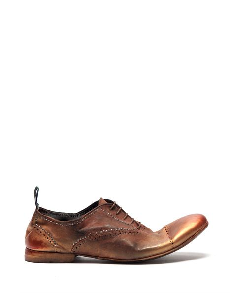 SEATTLE BROWN LACE-UP SHOES IN METALLIC SPRAY-PAINTED LEATHER
