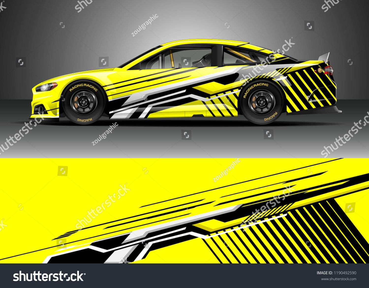 Car decal wrap design vector. Graphic abstract stripe