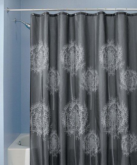 Charcoal Dandelion Shower Curtain Fabric Shower Curtains Curtains Charcoal Curtains