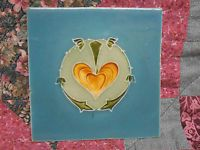 Original Antique Art Nouveau Tile - 6 X 6 Inches