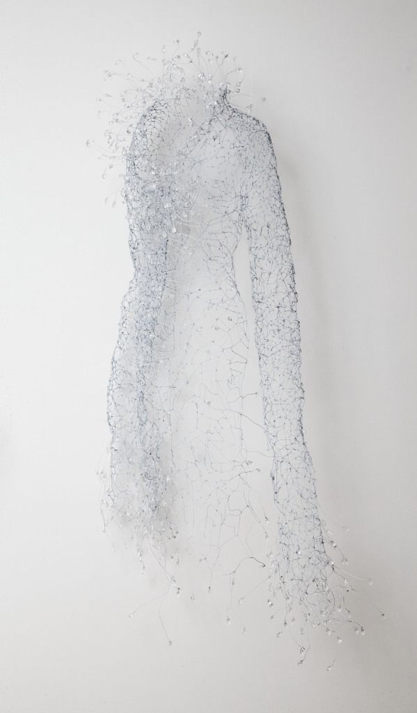 Keysook Geum - White Half Dress 1. White wire and beads. Callan Contemporary Gallery
