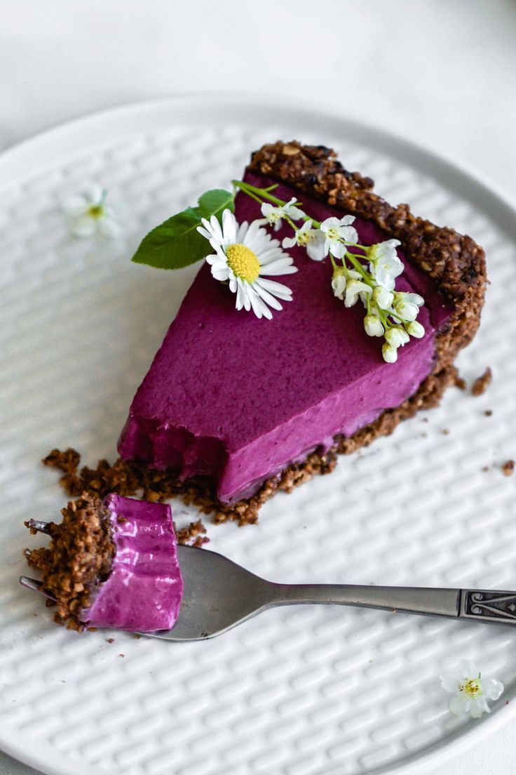 Blueberry Tart with Chocolate Walnut Crust | Flowers in the Salad