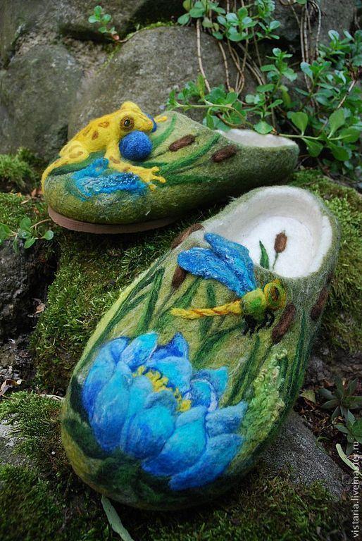 Обувь ручной работы. Тапочки «Лягушка в камышах». Угринович Ирина. Ярмарка Мастеров. Экскл