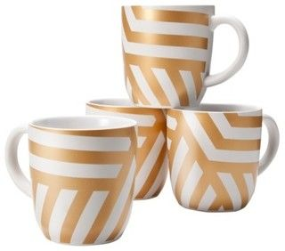 Threshold Stoneware Decal Mugs With Gold Zigzag - eclectic - glassware -  - by Target