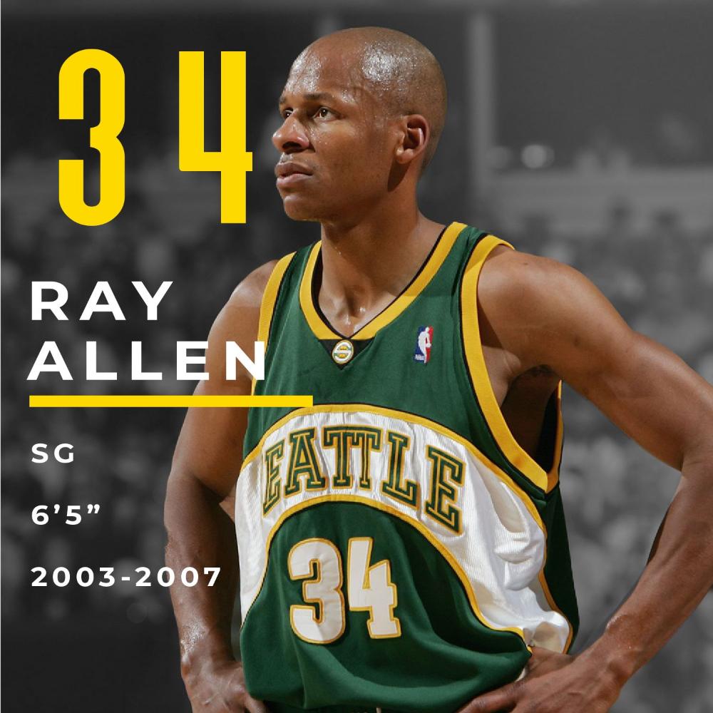 Bring Back The Seattle Super Sonics 34 Ray Allen Seattle Seattlesupersonics Basketball Sports Pnw Nba Sportshistory Sports Ray Allen Gary Payton Ray