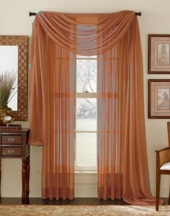 Rust Sheer Curtain Scarf Voile Curtains Drapes Curtains Window