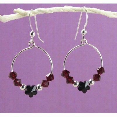Sterling Silver Crystal Swarovski Flower Hoop Earrings