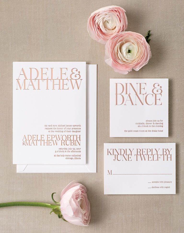 Fabulous Gold Foil Invitations Rose gold foil Minimalist