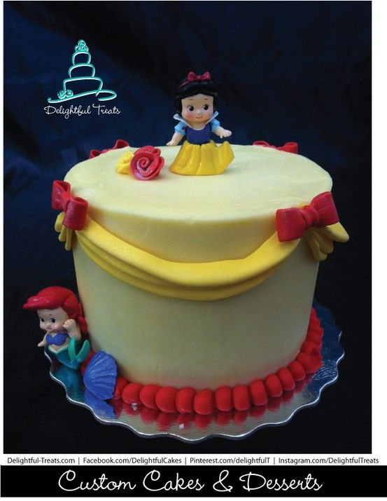 Remarkable Yellow Swag Red Ribbon Cake With Disney Princess Swag Cake Red Funny Birthday Cards Online Inifofree Goldxyz