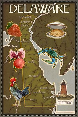 Delaware Map and Icons - Lantern Press Poster