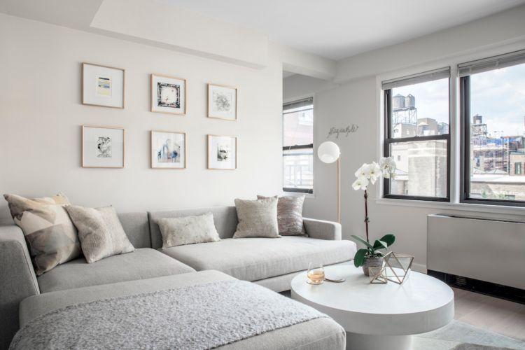 kleines wohnzimmer großes sofa elegante einrichtung ideen ...