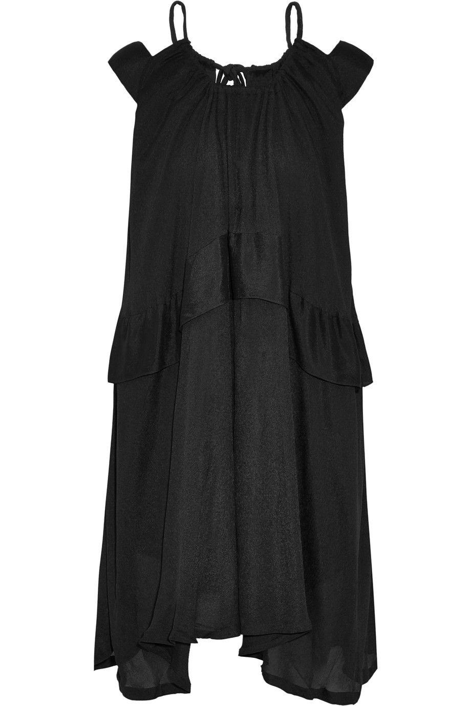Iro Woman Ruffled Cold-shoulder Cutout Crepe De Chine Mini Dress Black Size 34 Iro zxUIjggX8