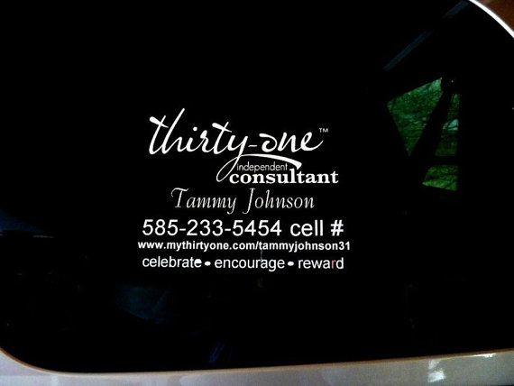 Custom Car Window Vinyl Decal Thirty One Consultant X Your - Car window vinyl decals custom