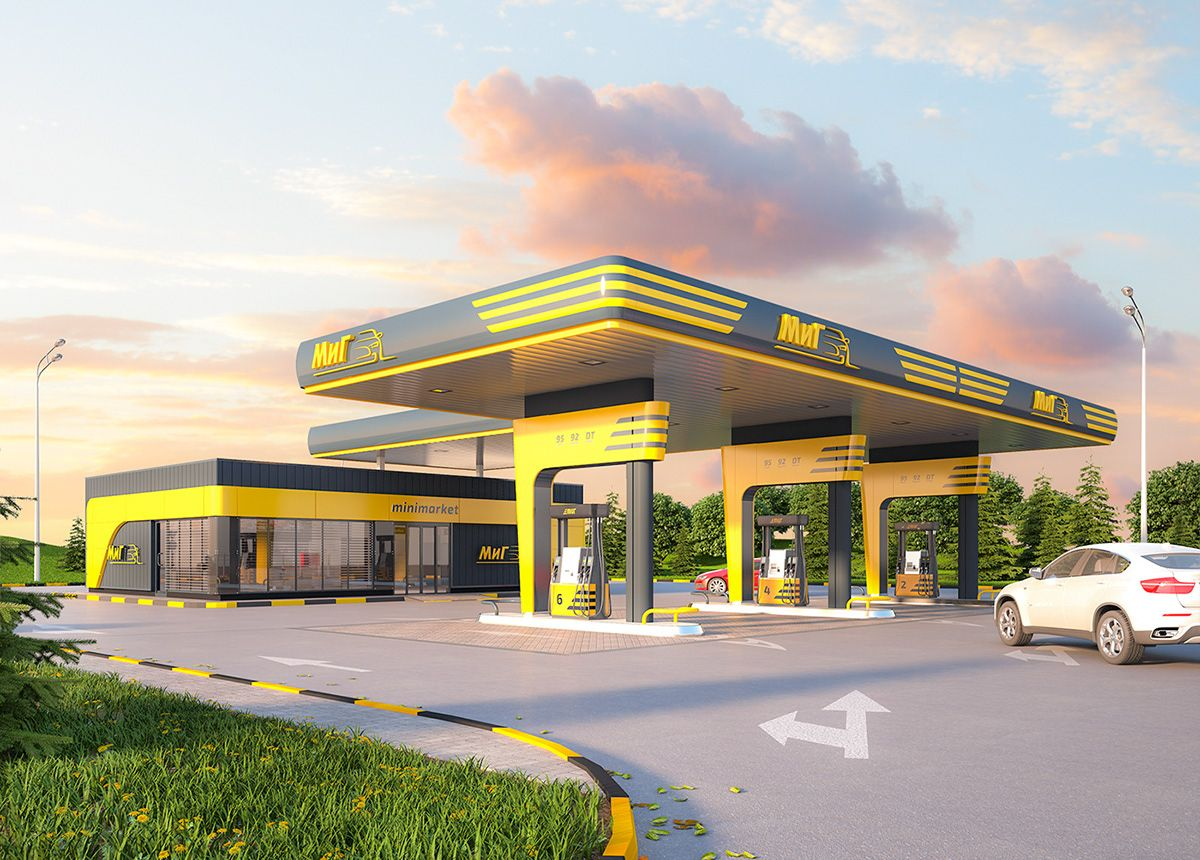 Design Of Gas Station On Behance Arhitektura Avtokad