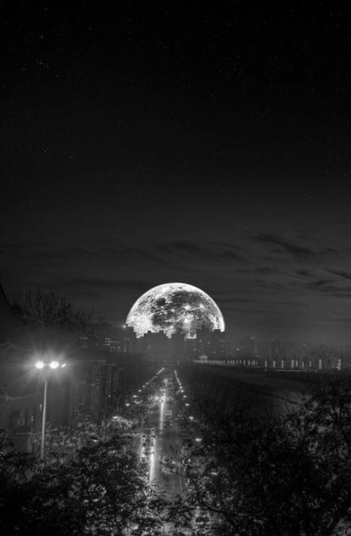 Full moon on the horizon