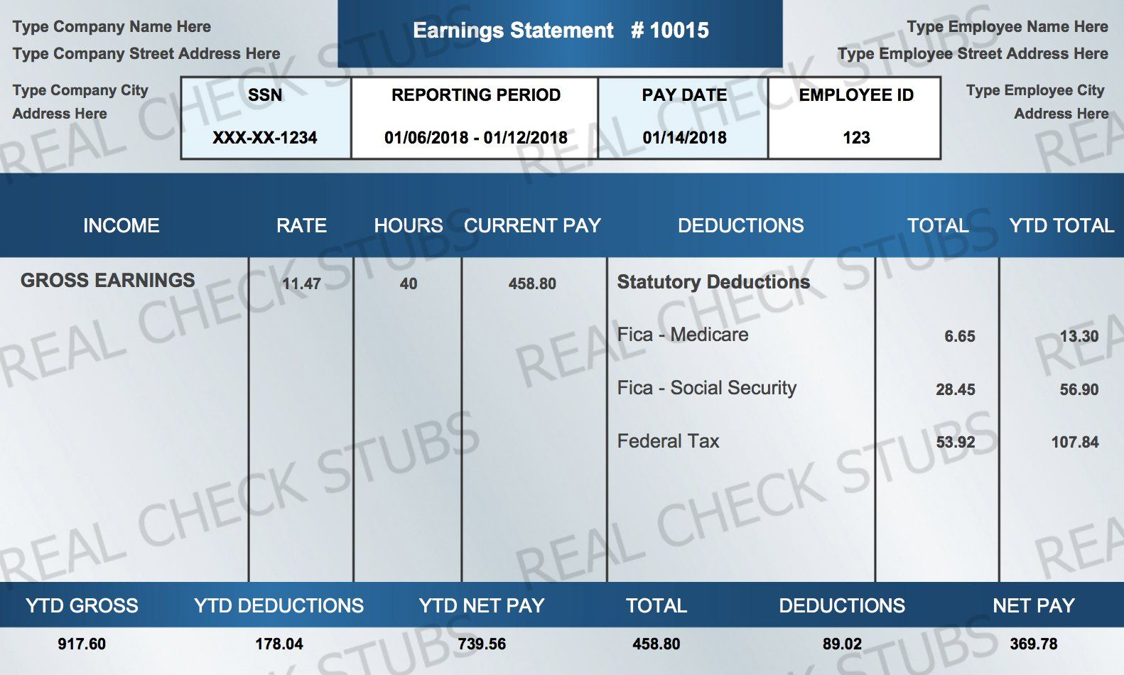 Real Paycheck Stubs Create Stub Templates printable