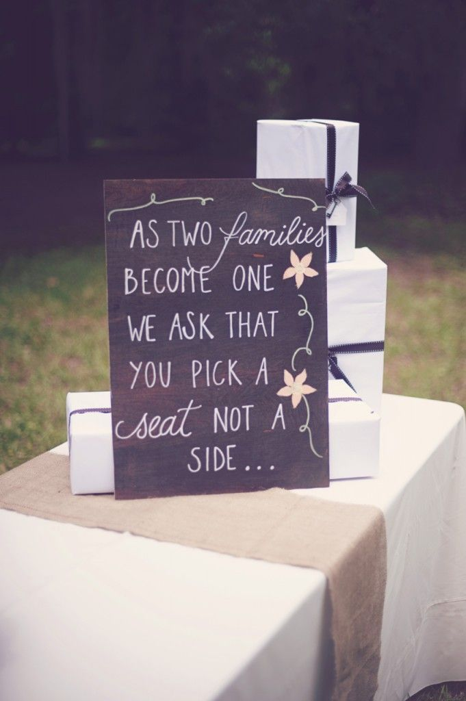 """Honey Bee Invites makes amazing custom wooden signs for your wedding! """"As two families become one, we ask that you pick a seat, not a side"""" www.thesecretlifeofinvites.com"""